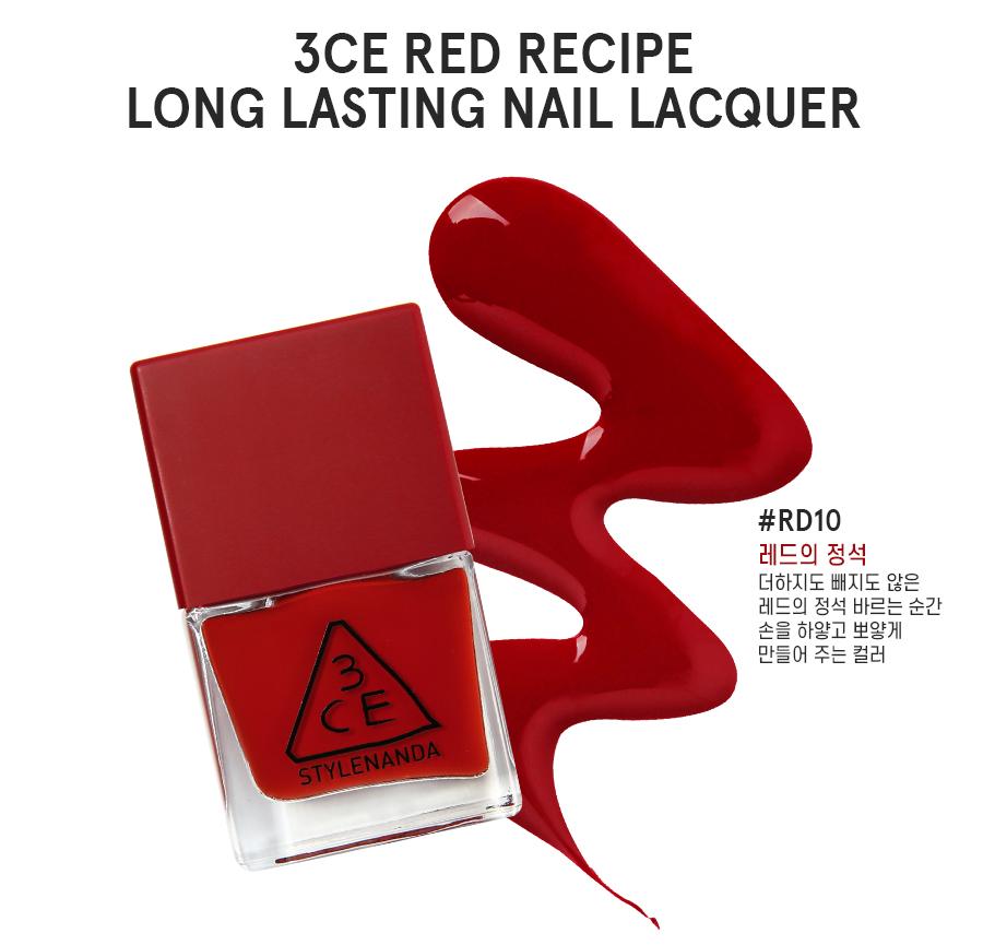 ผลการค้นหารูปภาพสำหรับ 3CE Red Recipe Long Lasting Nail Lacquer RD10