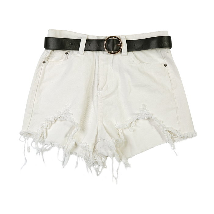 Damaged hem cotton shorts (+belt)