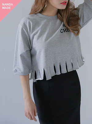 FRINGE CUTTING CROP-T (송지효 착용)