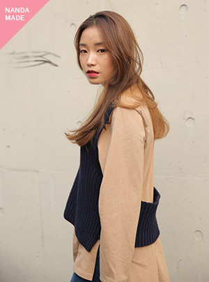 LAYERED SLIT LONG KNIT_NV