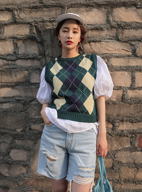 Argyle pattern drop knit vest