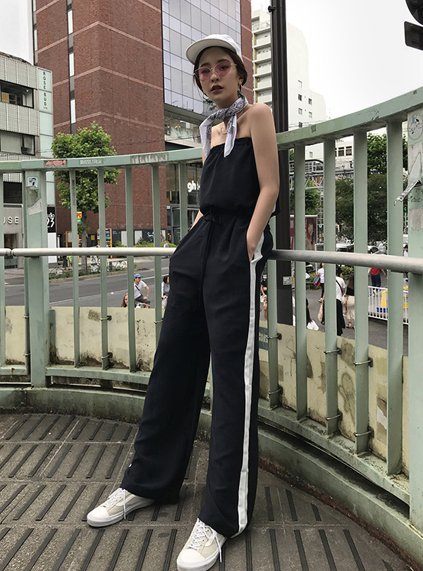 shoulderless side track jumpsuit