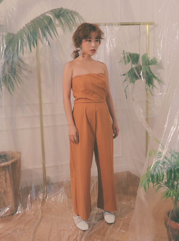 Bon voyage tube top jumpsuit