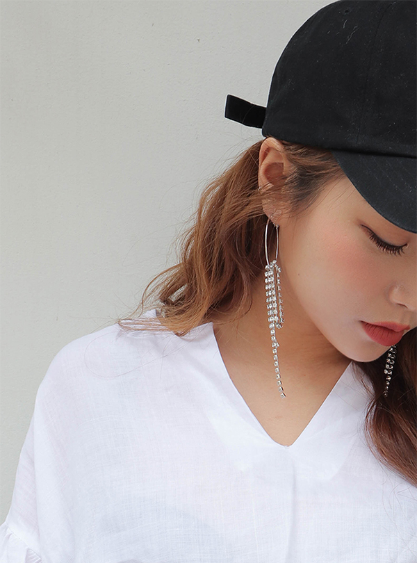 Cubic wave drop hoop earring