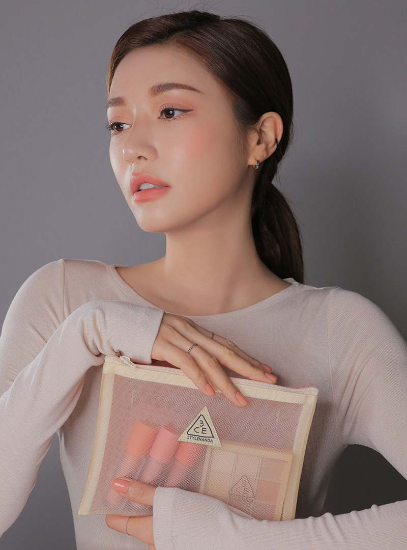 3CE DOUBLE MESH POUCH #BEIGE PINK